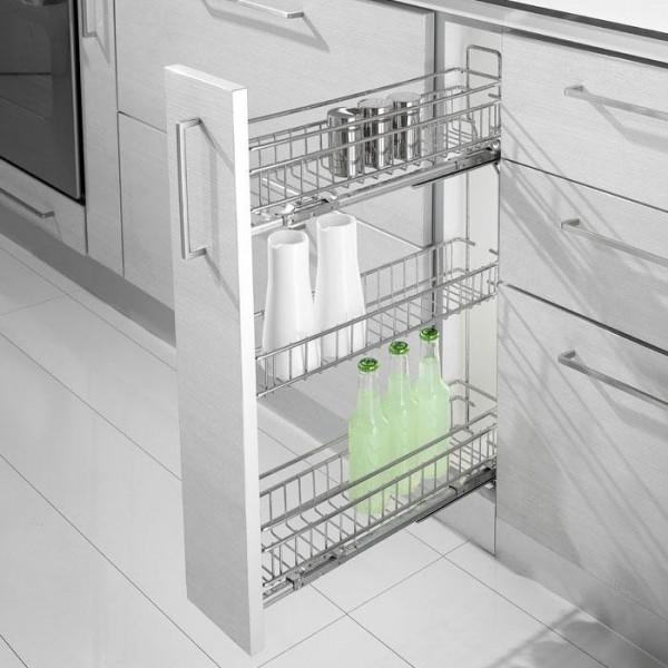 Trodelna izvlečna košara za kuhinjski element- mehko zapiranje, polni izvlek IZVLEČNE KOŠARE
