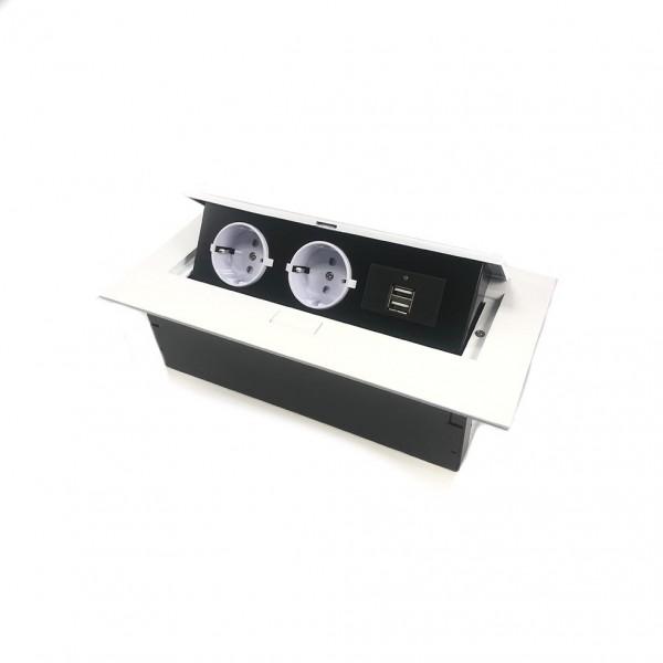 GTV pravokotna vtičnica 2x schuko 2x USB