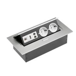 GTV pravokotna vtičnica 2x schuko 1x USB 1x internet 2x audio