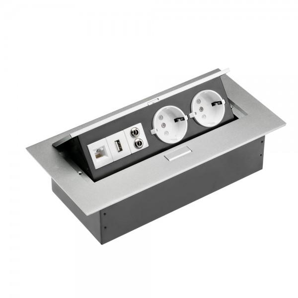 GTV pravokotna vtičnica 2x schuko 1x USB 1x internet 2x audio POTOPNE VTIČNICE