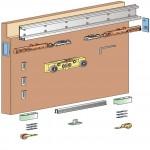 Magic - patentiran, skrit mehanizem za drsna vrata s sistemom mehkega zapiranja STAVBNA VRATA